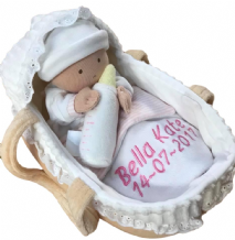 Personalised Baby Rag Doll in Moses Basket